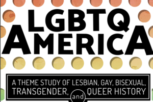 [The cover of LGBTQ America: A Theme Study of Lesbian, Gay, Bisexual, Transgender, and Queer History, which has black text against rows of polka-dots in rainbow order.]